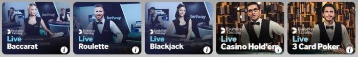 Betway Casino spiele mit dem Dealer
